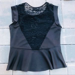 Tops - *Free with Bundle* Black peplum shirt with lace